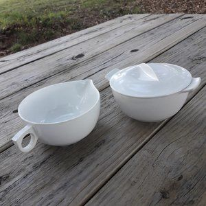Vintage Creamer and Sugar Bowl RV Camping Dishes